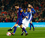 25th September 2018, Camp Nou, Barcelona, Spain; Copa del Rey football, quarter final, second leg, Barcelona versus Espanyol; Leo Messi scape from Hermoso