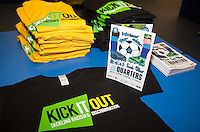 Kick it Out shirts & programme during the Sky Bet League 2 match between Wycombe Wanderers and Stevenage at Adams Park, High Wycombe, England on 12 March 2016. Photo by Andy Rowland/PRiME Media Images.