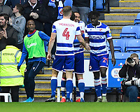 Jordan Obita of Reading middle is congratulated after scoring the first goal during Reading vs Hull City, Sky Bet EFL Championship Football at the Madejski Stadium on 8th February 2020