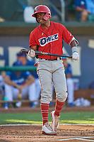 Jose Verrier (12) of the Orem Owlz at bat against the Ogden Raptors at Lindquist Field on September 3, 2019 in Ogden, Utah. The Raptors defeated the Owlz 12-0. (Stephen Smith/Four Seam Images)