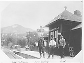 Placerville station agent and his helpers in front of the depot.  L to R: Ross Peterson, Roy Haley &amp; Charles Welbon.<br /> RGS  Placerville, CO  ca. 1914