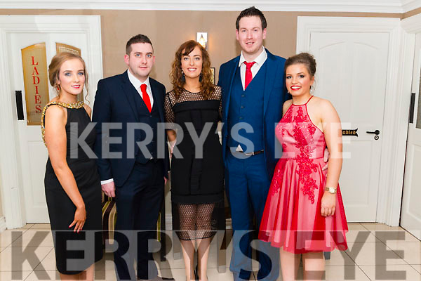 l-r Karen Buckley, Patrick Buckley, Helen O'Regan, Aidan Murphy and Aisling O'Keeffe all from Banteer pictured at the Banteer Macra 50th Anniversary in the Heights Hotel, Killarney last Saturday night.
