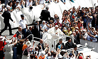 Papa Francesco saluta i fedeli al termine della Santa Messa della Solennit&agrave; dei Santi Pietro e Paolo in piazza San Pietro, Citta' del Vaticano, 29 giugno, 2017.<br /> Pope Francis greats faithful at the end of the mass for the imposition of the Pallium upon the new metropolitan archbishops and the solemnity of Saints Peter and Paul in St. Peter's Square at the Vatican, on June 29, 2017.<br /> UPDATE IMAGES PRESS/Isabella Bonotto<br /> <br /> STRICTLY ONLY FOR EDITORIAL USE