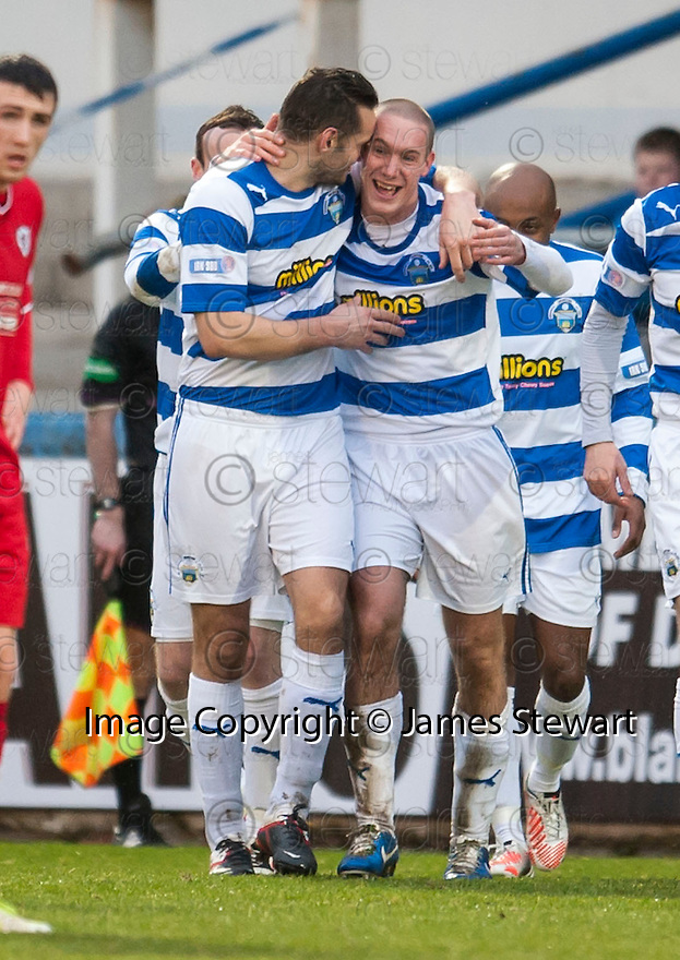 Morton's Michael Tidser (centre) is congratulated by Mark McLaughlin after he scores their goal.