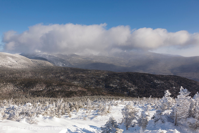 Appalachian Trail - The Presidential Range from the summit of Mount Jackson in Bean's Grant of the New Hampshire White Mountains at dawn during the winter months.