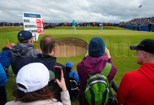 July 7th 2017, Portstewart Golf Club, Portstewart, Northern Ireland; Dubai Duty Free Irish Open Golf Championship, Day 2; Tommy Fleetwood (ENG) and Justin Rose (ENG) on the green during the second round of the Dubai Duty Free Irish Open