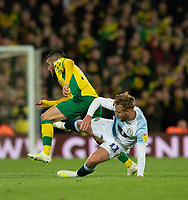 Blackburn Rovers' Harry Chapman (right) battles with Norwich City's Emi Buendia (left) <br /> <br /> Photographer David Horton/CameraSport<br /> <br /> The EFL Sky Bet Championship - Norwich City v Blackburn Rovers - Saturday 27th April 2019 - Carrow Road - Norwich<br /> <br /> World Copyright © 2019 CameraSport. All rights reserved. 43 Linden Ave. Countesthorpe. Leicester. England. LE8 5PG - Tel: +44 (0) 116 277 4147 - admin@camerasport.com - www.camerasport.com