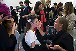 MILAN, ITALY - SEPTEMBER 23: Models has make-up done backstage before a show with the Italian Haitian designer Stella Jean at Milan Fashion Week Spring/Summer Milan 2016, in Milan, Italy.  (Photo by: Per-Anders Pettersson)