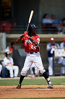 Carolina Mudcats Wes Rogers (24) at bat during a Carolina League game against the Winston-Salem Dash on August 14, 2019 at Five County Stadium in Zebulon, North Carolina.  Winston-Salem defeated Carolina 4-2.  (Mike Janes/Four Seam Images)