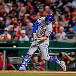 21 September 2018: New York Mets outfielder Brandon Nimmo in action against the Washington Nationals at Nationals Park in Washington, DC. The Mets defeated the Nationals 4-2 in the second game of their 4-game series. Mandatory Credit: Ed Wolfstein Photo *** RAW (NEF) Image File Available ***
