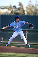 Spencer Trayner (37) of the North Carolina Tar Heels pitches against the UCLA Bruins at Jackie Robinson Stadium on February 20, 2016 in Los Angeles, California. UCLA defeated North Carolina, 6-5. (Larry Goren/Four Seam Images)