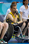 Ryan Scott looks on nervously as Australia and Canada fight a close semi final in the Wheelchair Rugby at the USTB Gymnasium at the Paralympic games, Beijing, China 15th September 2008.Australia won the game 41-40