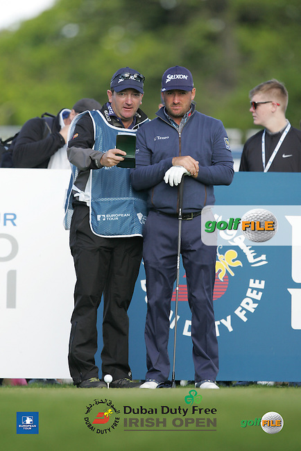 Graeme McDowell (NIR) and his caddie Ken Comboy during Wednesday's Pro-Am ahead of the 2016 Dubai Duty Free Irish Open Hosted by The Rory Foundation which is played at the K Club Golf Resort, Straffan, Co. Kildare, Ireland. 18/05/2016. Picture Golffile | TJ Caffrey.<br /> <br /> All photo usage must display a mandatory copyright credit as: &copy; Golffile | TJ Caffey.