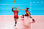 25.08.2018, …VB Arena, Bremen<br />Volleyball, LŠnderspiel / Laenderspiel, Deutschland vs. Niederlande<br /><br />Zuspiel Pia KŠstner / Kaestner (#2 GER), Lisa GrŸnding / Gruending (#22 GER)<br /><br />  Foto &copy; nordphoto / Kurth