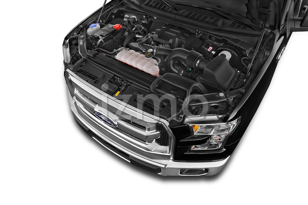 High Angle Engine Detail of 2015 Ford F-150 XLT Super Cab 2 Door Truck Stock Photo