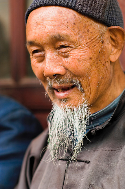 Elder of Ji Chang Han Village still dress in tradition of Ming Dynasty, China