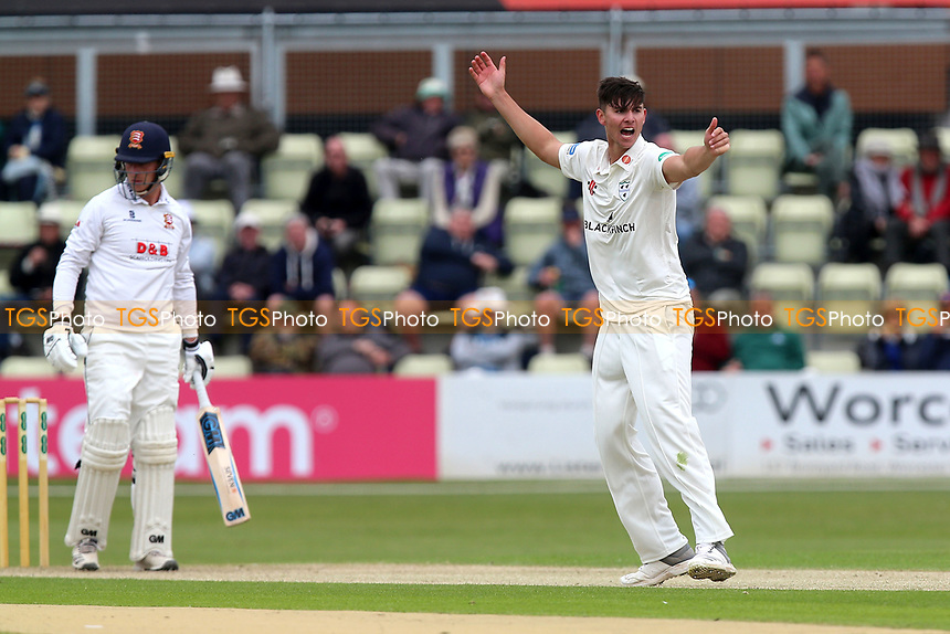 Josh Tongue of Worcestershire appeals for the wicket of Tom Westley during Worcestershire CCC vs Essex CCC, Specsavers County Championship Division 1 Cricket at Blackfinch New Road on 11th May 2018