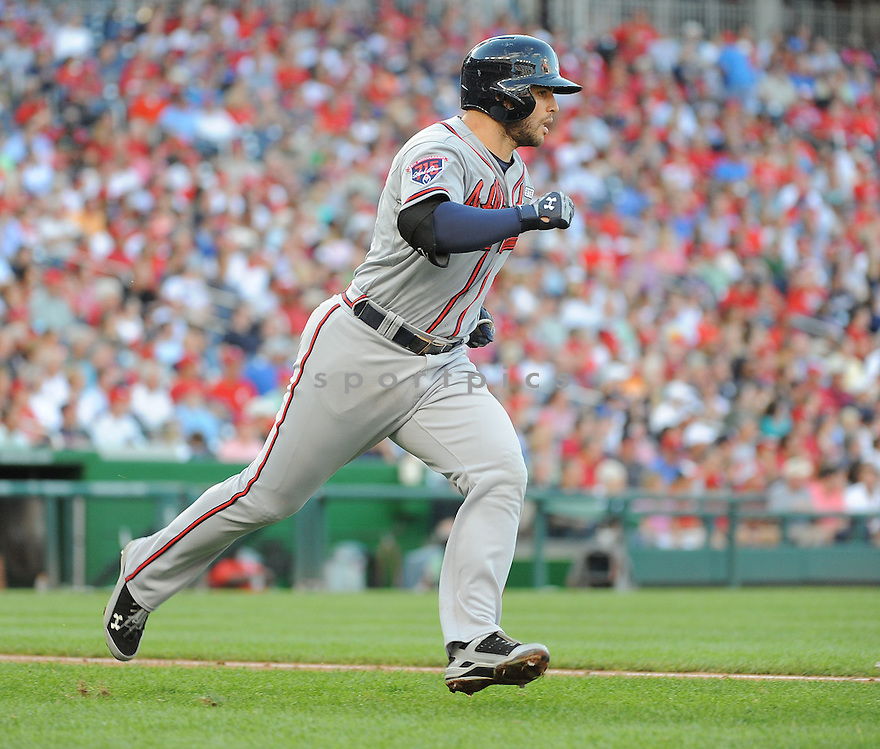 Atlanta Braves Tommy La Stella (7) during a game against the Washington Nationals on September 10, 2014 at Nationals Park in Washington DC. The Braves beat the Nationals 6-2.
