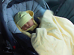 New born infant in automobile restraing seat