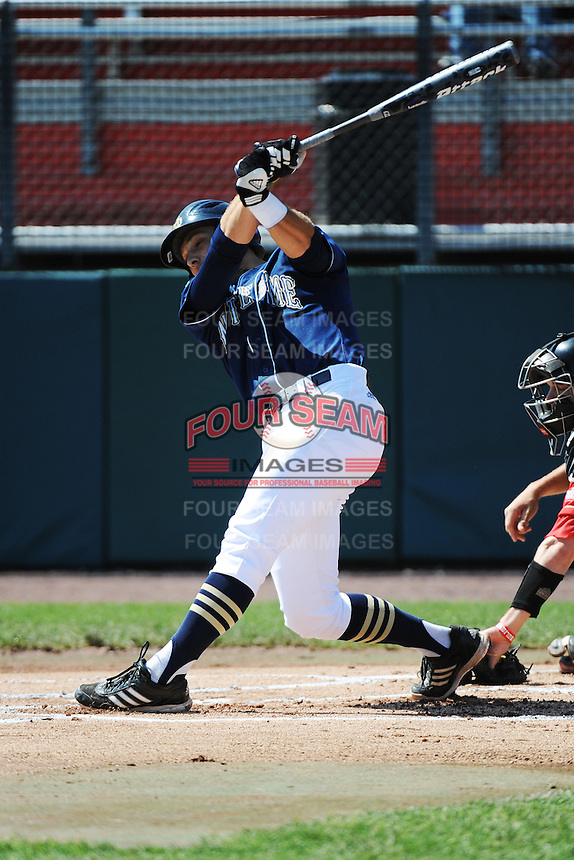 University of Notre Dame Fighting Irish infielder Phil Mosey (33) during game against the St. John's University Redstorm at Jack Kaiser Stadium on May 12, 2013 in Queens, New York. St. John's defeated Notre Dame 2-1.      . (Tomasso DeRosa/ Four Seam Images)