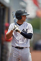 GCL Yankees East Raymundo Moreno (5) on deck during a Gulf Coast League game against the GCL Phillies East on July 31, 2019 at Yankees Minor League Complex in Tampa, Florida.  GCL Phillies East defeated the GCL Yankees East 4-3 in the second game of a doubleheader.  (Mike Janes/Four Seam Images)