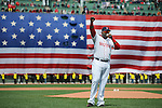 BOSTON, MA - APRIL  20: David Ortiz #34 of the Boston Red Sox addresses the crowd before the start of a game against the Kansas City Royals on April 20, 2013 at Fenway Park in Boston, Massachusetts. (Photo by Michael Ivins/Boston Red Sox)