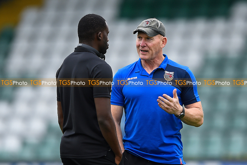 Grimsby Town Caretaker Manager Dave Moore right explains a point to Tom Bolarinwa of Grimsby Town during Yeovil Town vs Grimsby Town, Sky Bet EFL League 2 Football at Huish Park on 29th October 2016