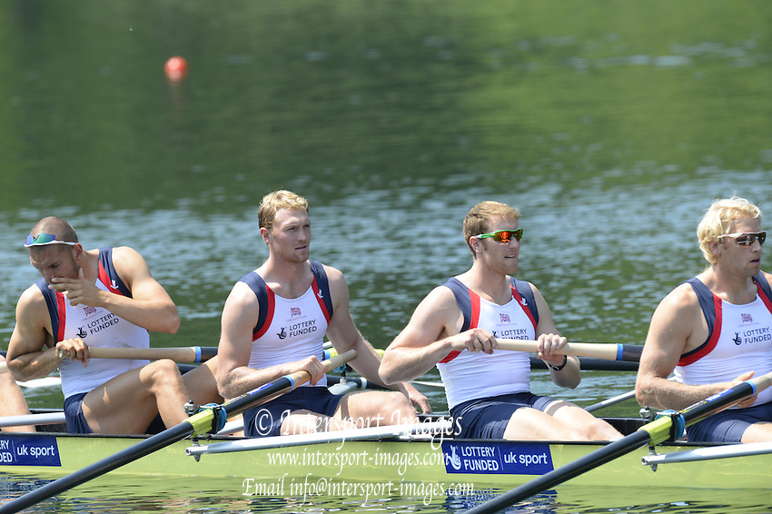 Lucerne. Switzerland. GBR1 M8+. Bow. Tom RANSLEY, Dan RICHIE, Peter REED, Will SATCH, Mo SBIHI, Alex GREGORY George NASH, Andy TRIGGS HODGE and cox,  Phelan HILL, move away from the start pontoon in their heat of the  men's eights FISA WC III. 13:47:44  Friday  12/07/2013  [Mandatory Credit, Peter Spurrier/ Intersport Images] Lake Rotsee,