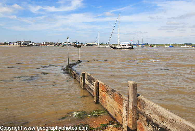 The mouth of the River Deben, Bawdsey Quay, Suffolk, England looking to Felixstowe Ferry