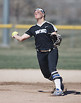 Western Nevada's Makaylee Jaussi throws home against Colorado North Western at Edmonds Sports Complex Carson City, Nev., on Friday, March 18, 2016.<br /> Photo by Jeff Mulvihill, Jr.