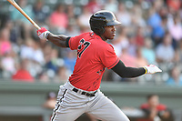 Right fielder Micker Adolfo (27) of the Kannapolis Intimidators bats in a game against the Greenville Drive on Wednesday, July 12, 2017, at Fluor Field at the West End in Greenville, South Carolina. Greenville won, 12-2. (Tom Priddy/Four Seam Images)