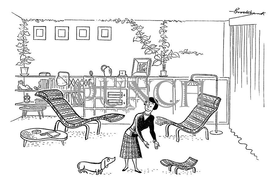 (A woman offers her dog a mini-sized chaise longue)