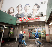 The Walgreens drug store at One Times Square in New York is seen on Friday, April 10, 2015. Walgreens Boots Alliance announced it will close 200 of its 8,232 drugstores as part of its three year plan to reduce costs. (© Richard B. Levine)