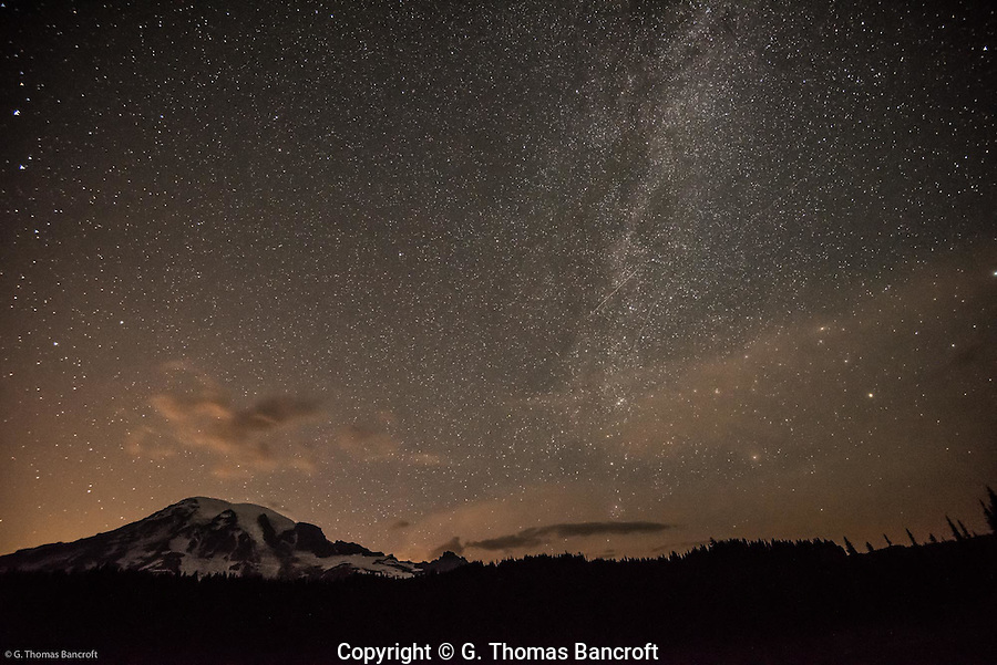 Milky Way and Mt Rainier looking north from south of Mt Rainier.