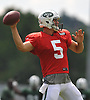 Christian Hackenberg #5, New York Jets rookie quarterback, throws a pass during team training camp at Atlantic Health Jets Training Center in Florham Park, NJ on Wednesday, Aug. 3, 2016.