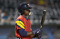 Daz Cameron (10) of the Toledo Mud Hens during the game against the Charlotte Knights at BB&T BallPark on April 23, 2019 in Charlotte, North Carolina. The Knights defeated the Mud Hens 11-9 in 10 innings. (Brian Westerholt/Four Seam Images)