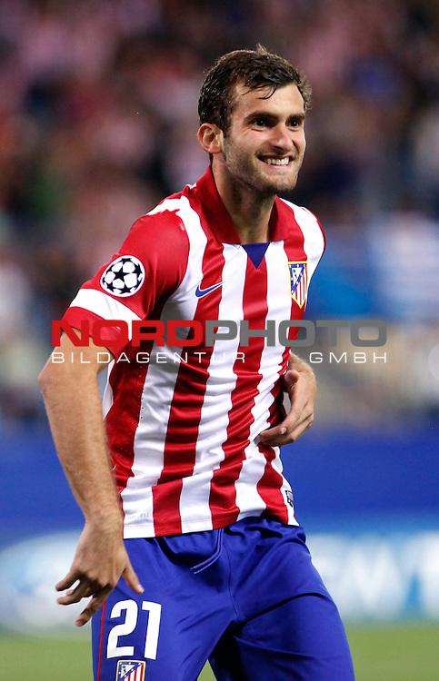 Atletico de Madrid's Leo Baptistao celbrates scoring a goal during Champions League 2013/2014 match.September 18,2013. Foto © nph / Victor Blanco)