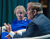 "Former United States Secretary of Homeland Security Tom Ridge participates in a panel ""Fifteen Years After 9/11"" before 1300 women philanthropists at the Jewish Federations' 2016 International Lion of Judah Conference at the Washington Hilton Hotel on Sunday, September 11, 2016. Former US Secretary of State Madeleine Albright looks on from left.<br /> Credit: Ron Sachs / CNP"