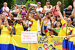 Ever colourful Colombian fans at sign on before the start of Stage 13 of the 2018 Tour de France running 169.5km from Bourg d'Oisans to Valence, France. 20th July 2018. <br /> Picture: ASO/Alex Broadway | Cyclefile<br /> All photos usage must carry mandatory copyright credit (&copy; Cyclefile | ASO/Alex Broadway)