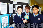 Dylan O'Connor, Oscar McCarthy and Ahad Akter with their project The effects of zero-gravity on the Spine at the St Brendan's College Science Fair on Tuesday