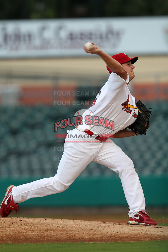 Palm Beach Cardinals pitcher Seth Maness #43 during a game against the Fort Myers Miracle at Roger Dean Stadium on May 1, 2012 in Jupiter, Florida.  Palm Beach defeated Fort Myers 9-3.  (Mike Janes/Four Seam Images)