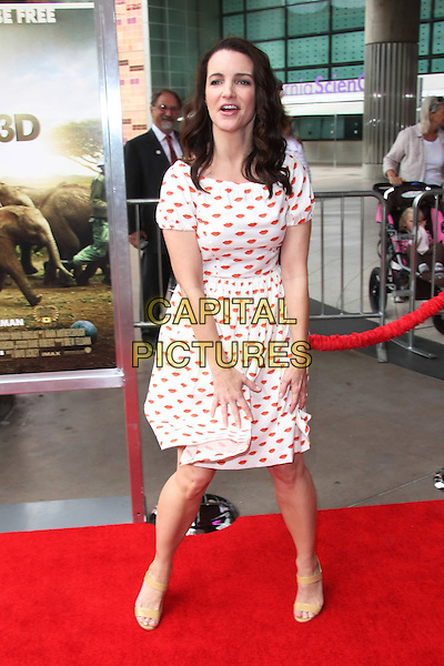 "KRISTIN DAVIS.""Born To Be Wild"" Los Angeles Premiere held at The California Science Center, Los Angeles, California, USA..April 3rd, 2011.full length dress white red mouth lips print beige open toe shoes sandals funny.CAP/ADM/TB.©Tommaso Boddi/AdMedia/Capital Pictures."