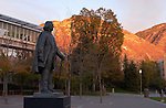 Brigham Young Statue at sunset with Y mountain in the background...Photo by Mark Philbrick/BYU