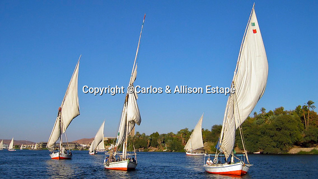 Sailboats on the Nile River, Egypt