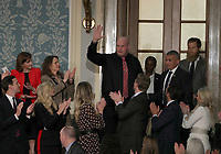 Timothy Matson, a guest of United States President Donald J. Trump and First lady Melania Trump, who is one of the Pittsburgh police SWAT officers who was hurt during the active shooter situation at the Tree of Life synagogue waves to the audience as he is introduced during the President''s second annual State of the Union Address to a joint session of the US Congress in the US Capitol in Washington, DC on Tuesday, February 5, 2019. Photo Credit: Alex Edelman/CNP/AdMedia