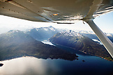USA, Alaska, Homer, aerial view of Kachemak Bay State Park and Wilderness, Kenai mountains and Sadie Cove