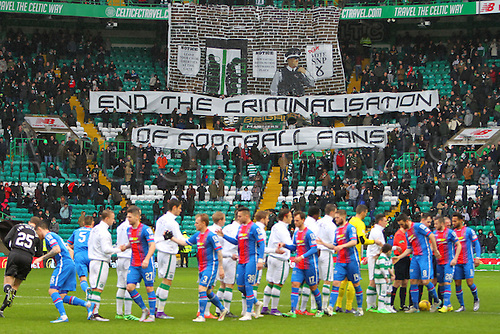 20.02.2016. Celtic Park, Glasgow, Scotland. Scottish Premier League. Celtic versus Inverness CT. Celtic fans with a pre match police banner protest