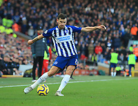 30th November 2019; Anfield, Liverpool, Merseyside, England; English Premier League Football, Liverpool versus Brighton and Hove Albion; Pascal Gross of Brighton and Hove Albion crosses the ball into the Liverpool penalty area - Strictly Editorial Use Only. No use with unauthorized audio, video, data, fixture lists, club/league logos or 'live' services. Online in-match use limited to 120 images, no video emulation. No use in betting, games or single club/league/player publications