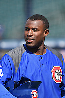 Chattanooga Lookouts first baseman O'Koyea Dickson (7) during batting practice before a game against the Birmingham Barons on April 24, 2014 at AT&T Field in Chattanooga, Tennessee.  Chattanooga defeated Birmingham 5-4.  (Mike Janes/Four Seam Images)