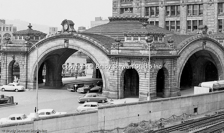 Pittsburgh PA - View of the entrance of the Pennsylvania Railroad's Pittsburgh Penn Station - 1959.
